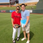 Jordin Sparks and Jonathan Radow at Larry Fitzgerald's First Annual Celebrity Softball Tournament.  Uniforms created by 224 Apparel & Design.