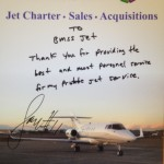 """To BMSS Jet: Thank you for providing the best and most personal service for my private jet service."" - Larry Fitzgerald"